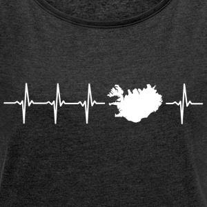 I love Iceland (Iceland heartbeat) - Women's T-shirt with rolled up sleeves