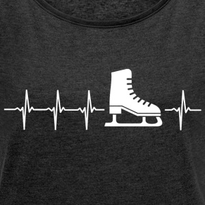 I love figure skating (heartbeat) - Women's T-shirt with rolled up sleeves