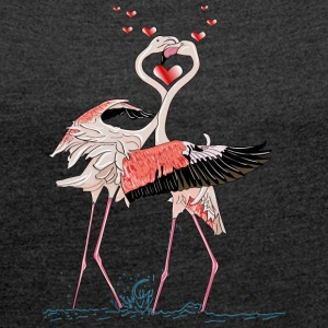 love flamingos - Women's T-shirt with rolled up sleeves