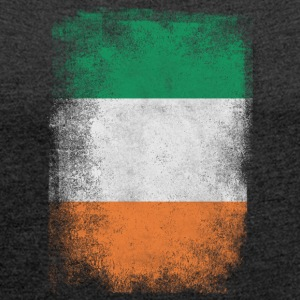 Irland-Flagge Proud Irish Vintage Distressed - Frauen T-Shirt mit gerollten Ärmeln