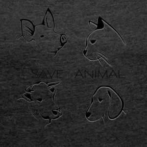 Save Animal - Frauen T-Shirt mit gerollten Ärmeln