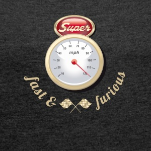 Auto Tuning Oldtimer fast tacho gasoline race k - Women's T-shirt with rolled up sleeves