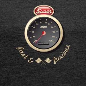 Gasoline Vintage Car car quickly Tacho Tuning km / h - Women's T-shirt with rolled up sleeves