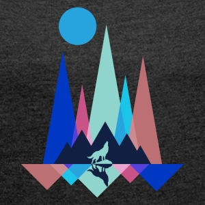 Mountain Wolf Polygon - Frauen T-Shirt mit gerollten Ärmeln