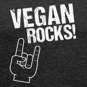 Vegan Rocks! THe Rockin' Vegan Style. - Frauen T-Shirt mit gerollten Ärmeln