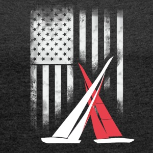 American sail sailing americas cup match Race foil - Women's T-shirt with rolled up sleeves