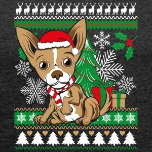 Chihuahua Weichnachten Ugly Sweater - Women's T-shirt with rolled up sleeves