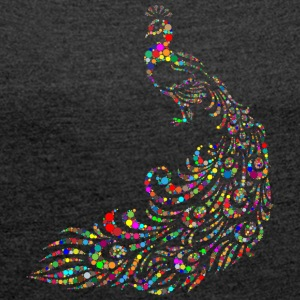 Peacock - Abstract - T-skjorte med rulleermer for kvinner