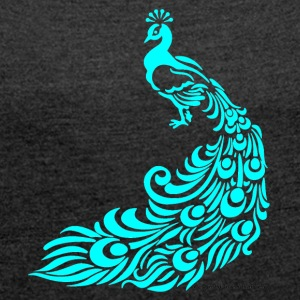 Peacock tuerkis - Women's T-shirt with rolled up sleeves