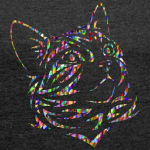 Colorful cat - Women's T-shirt with rolled up sleeves