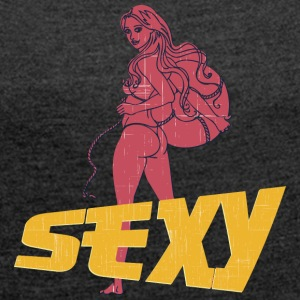 sexy hot ass girl vintage - Women's T-shirt with rolled up sleeves