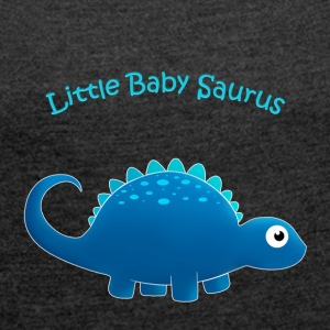 Blue Little Baby Saurus - Women's T-shirt with rolled up sleeves