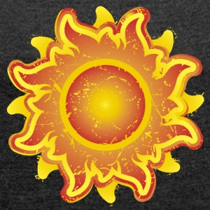 fiery sun sunshine summer summer Star Star - Women's T-shirt with rolled up sleeves