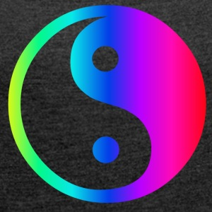 Rainbow Ying Yang - Women's T-shirt with rolled up sleeves