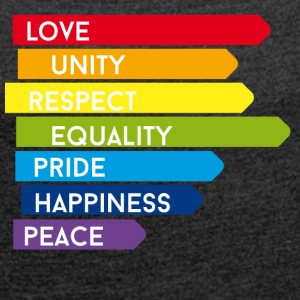 gay Love Unity Respect Pride happy rainbow colorful - Women's T-shirt with rolled up sleeves