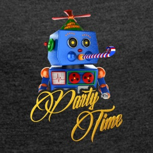 Söt Party Time Robot - T-shirt med upprullade ärmar dam