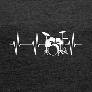 Drum Heartbeat - Women's T-shirt with rolled up sleeves