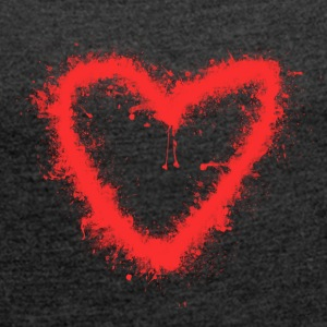 Spray-Heart - Women's T-shirt with rolled up sleeves
