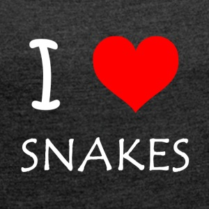 I Love Snakes - Women's T-shirt with rolled up sleeves
