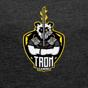 Tron gaming Logo Yellow Transparent - Women's T-shirt with rolled up sleeves