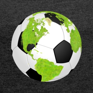footballsoccer earth planet globe fu ball earth - Women's T-shirt with rolled up sleeves