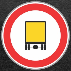 Road sign yellow truck - Women's T-shirt with rolled up sleeves
