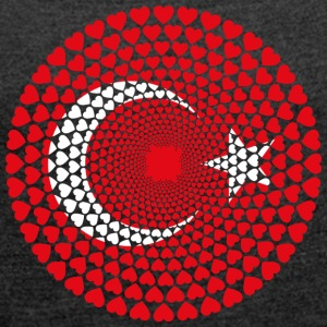 Turkey Turkey Türkiye Love HEART Mandala - Women's T-shirt with rolled up sleeves