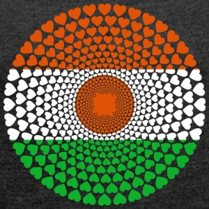 NIGER LOVE HEART MANDALA - Women's T-shirt with rolled up sleeves