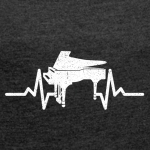 My heart beats for my piano - Women's T-shirt with rolled up sleeves