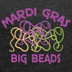 Mardi Gras Big Beads - Women's T-shirt with rolled up sleeves