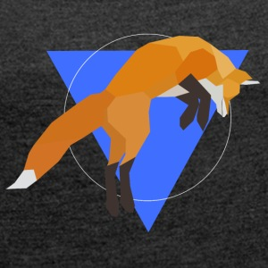 Geometric Fox Jumping - Women's T-shirt with rolled up sleeves