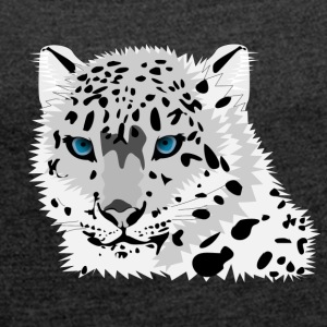 Wild cat withe - Women's T-shirt with rolled up sleeves