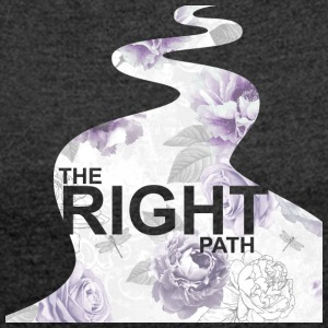 Purple Floral Path™ - Women's T-shirt with rolled up sleeves