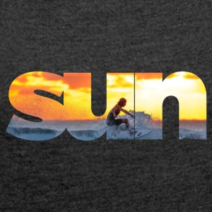 Sun text - Women's T-shirt with rolled up sleeves