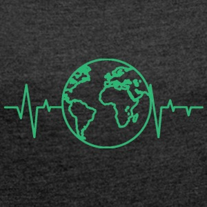 Earth Day / Earth Day: heart rate of the earth - Women's T-shirt with rolled up sleeves