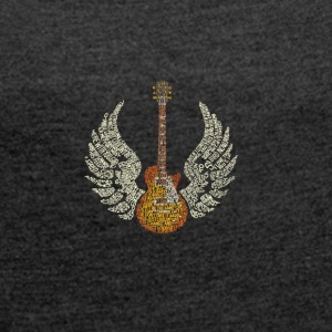Guitar with Wings - Women's T-shirt with rolled up sleeves