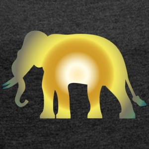 Big shining Elephant - Women's T-shirt with rolled up sleeves