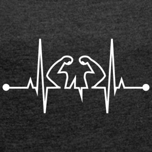 Heart Beats for Fitness WHITE - Dame T-shirt med rulleærmer