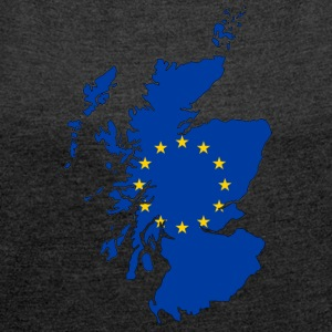 Scotland Map with EU Flag - Women's T-shirt with rolled up sleeves