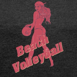 beach volleyball vintage - Women's T-shirt with rolled up sleeves