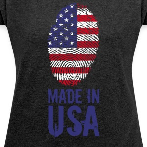 Made in USA / Made in USA Amerika - Vrouwen T-shirt met opgerolde mouwen