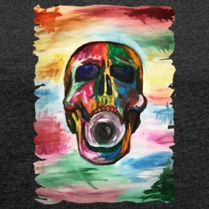 Colorful screaming skull - Women's T-shirt with rolled up sleeves