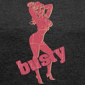 busty woman vintage - Women's T-shirt with rolled up sleeves