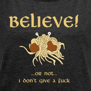 TRO i Flying Spaghetti Monster - T-shirt med upprullade ärmar dam