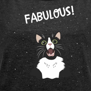 fabulous cat - Women's T-shirt with rolled up sleeves