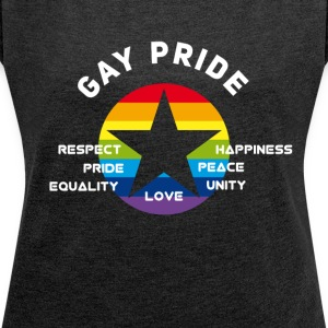 gay_star Pride asterisk love Respect proud cs - Women's T-shirt with rolled up sleeves