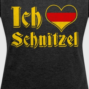 Ich liebe schnitzel Oktoberfest dirndl alternative - Women's T-shirt with rolled up sleeves