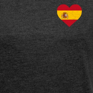 Spain Flag Shirt Heart - Spanish Shirt - Women's T-shirt with rolled up sleeves