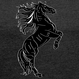 horse black - Women's T-shirt with rolled up sleeves