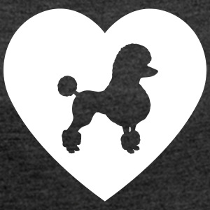 Poodle - Poodle in heart - Women's T-shirt with rolled up sleeves